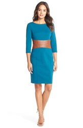 Women's Nue By Shani Faux Leather And Ponte Sheath Dress Azure Blue Luggage