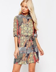 Ax Paris 3 4 Sleeve Border Print Shirt Dress Multi