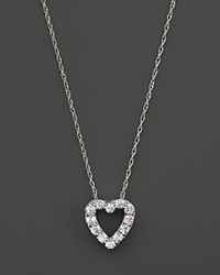 Bloomingdale's Diamond Heart Pendant Necklace In 14K White Gold .25 Ct. T.W.