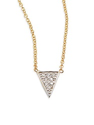 Kacey K Fine Jewelry Diamond And 14K Gold Single Triangle Necklace Gold Silver