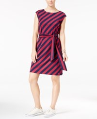 Tommy Hilfiger Freya Striped Belted Fit And Flare Dress Red Plum Print