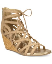 Kenneth Cole Reaction Women's Cake Pop Gladiator Lace Up Wedge Sandals Women's Shoes Almond