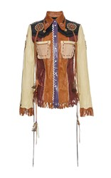 Roberto Cavalli Patchwork Fringe Leather Jacket Multi