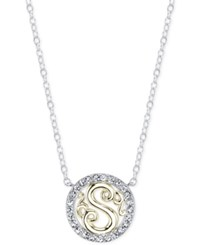 Unwritten Initial 'S' Pendant Necklace With Crystal Pave Circle In Sterling Silver And Gold Flash Two Tone
