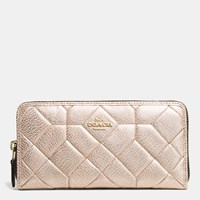 Coach Canyon Quilt Accordion Zip Wallet In Calf Leather Light Gold Platinum