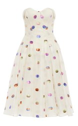 Zac Posen Strapless Lurex Polka Dot Dress With Flared Skirt White Blue Pink