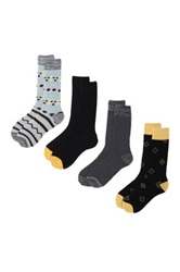 Lucky Brand Native Striped And Diamonds Crew Cut Socks Pack Of 4 Black