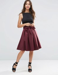 Asos Prom Skirt With Self Belt In Bonded Satin Oxblood Red