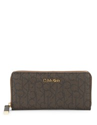 Calvin Klein Monogram Faux Leather Wallet Textured Brown
