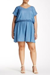 Want And Need Chambray Sleeveless Ruffle Romper Plus Size Blue
