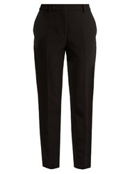 Msgm Mid Rise Slim Fit Crepe Trousers Black