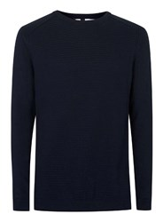 Topman Blue Navy Ribbed Slim Fit Cotton Sweater