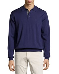 Neiman Marcus Wool Long Sleeve Polo Shirt Eggplant