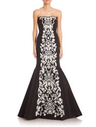 Oscar De La Renta Floral Embellished Strapless Silk Mermaid Gown Black White