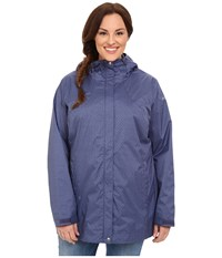 Columbia Plus Size Splash A Little Rain Jacket Nocturnal Print Women's Coat Blue
