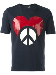 Love Moschino 'Heart And Peace' T Shirt Blue