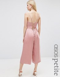 Asos Petite Satin Cami Jumpsuit With Strappy Back Pink