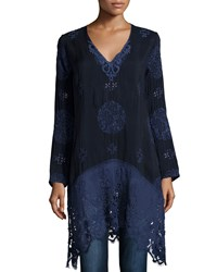Johnny Was Lacy Long V Neck Georgette Top Women's Stargazing
