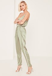 Missguided Green Satin Sports Striped Strap Jumpsuit