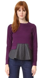 Carven Knit Top With Trim Violet