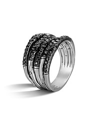 John Hardy Bamboo Silver Lava Wide Ring With Black Sapphire Black Silver
