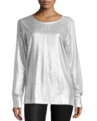 Norma Kamali Long Sleeve Sweat Tee Silver