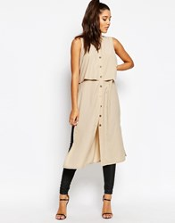 Missguided Double Layer Long Line Shirt Beige