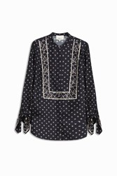 3.1 Phillip Lim Knot Printed Blouse Navy