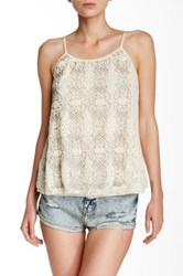 Angie Beaded Lace Tank White