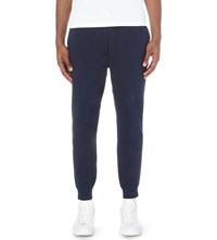 Ralph Lauren Logo Cuffed Cotton Blend Jogging Bottoms Blue White