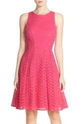 Women's Maggy London Cotton Eyelet Fit And Flare Dress Berry Rose