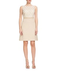 Kay Unger Lace And Tweed Dress Ivory Multi