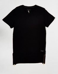 Religion Long Line Extension T Shirt Black