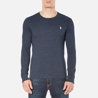 Polo Ralph Lauren Men's Long Sleeve Crew Neck Custom Fit T Shirt Blue Eclipse