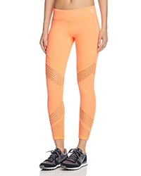Trina Turk Recreation Laser Cut Leggings Neon Coral