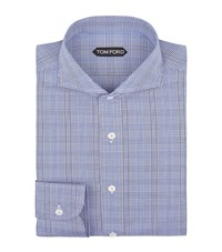 Tom Ford Prince Of Wales Check Shirt Male Blue