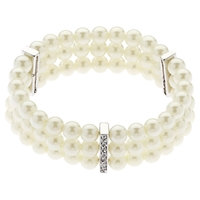 Finesse Classic Three Row Pearl Stretch Bracelet White