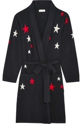 Chinti And Parker Star Intarsia Cashmere Robe Midnight Blue
