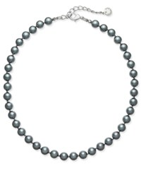 Charter Club Silver Tone Gray Imitation Pearl Collar Necklace Only At Macy's Grey