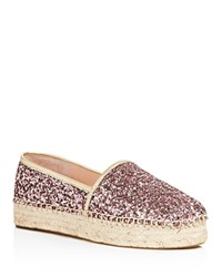 Kate Spade New York Linds Too Glitter Platform Espadrilles Rose Gold