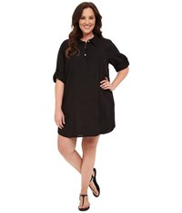 Allen Allen Plus Size Roll Sleeve Mock Placket Shirtdress Black Women's Dress