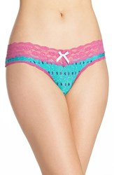 Honeydew Intimates Women's Lace Trim Low Rise Thong Spruce Trees