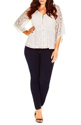 City Chic Plus Size Women's Lace Bell Sleeve Top Ivory