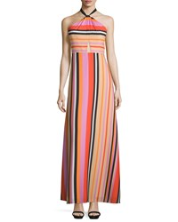 Phoebe Couture Sleeveless Halter Striped Gown Red Multi
