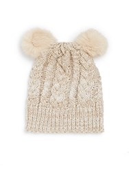 Saks Fifth Avenue Marled Cable Knit Faux Fur Pom Pom Hat Cream