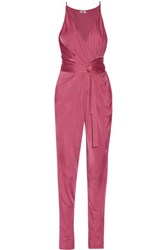 Issa Rubell Stretch Jersey Jumpsuit Pink