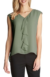 Cece By Cynthia Steffe Ruffle Front V Neck Blouse Silver Pine
