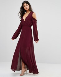 Foxiedox Cold Shoulder Lace Up Maxi Burgundy Red