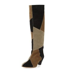 Isabel Marant Ross Patchwork Suede Tall Boot Black Taupe Black Taupe