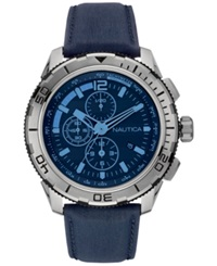 Nautica Men's Chronograph Navy Leather Strap Watch 48Mm Nad19518g Blue